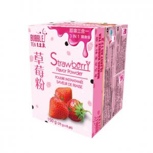 台湾Bubble Tea 123 速溶三合一奶茶粉 草莓味 随身包 150克